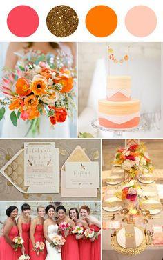 Wedding colour palette - raspberry, gold, orange, blush | Squirrelly Minds