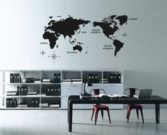 Conquer the world - on your wall! Grab a World Map Wall Decal for $23 from Firstin Ltd.  Great for a kids room or study.