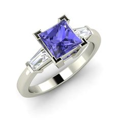 Three Stone Engagement Ring with 0 57 cttw Tanzanite in Solid 14k White Gold…