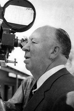 Alfred Hitchcock while filming Psyco (1960)
