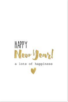 Simpele nieuwjaarskaart met witte achtergrond en verschillende lettertypes. Geheel zelf aan te passen. Enveloppen los bij te bestellen.