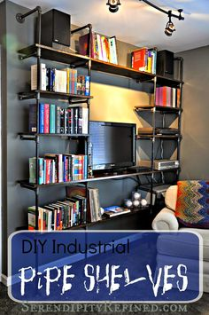 Serendipity Refined: DIY Industrial Pipe Shelves for the Apartment: A Tutorial Industrial Pipe Shelves, Industrial House, Pipe Shelving, Pipe Furniture, Repurposed Furniture, French Country Decorating, Decorating On A Budget, Home Renovation, Home Projects