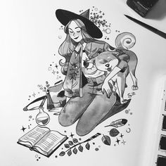 Inktober day 2 - Doggo Hi everyone ! I just opened. Witch Drawing, Painting & Drawing, Pretty Art, Cute Art, Art Sketches, Art Drawings, Inktober, Really Cool Drawings, Art Prompts