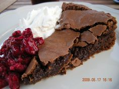 Kladdkaka, typical swedish cake. Almost a flourless chocolate cake.