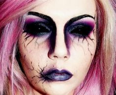 """Cracked Face With Dark Defined Eyebrows, & Dark Eyes & Lips. Pin from Board """"Special Effects Makeup/period makeup"""""""