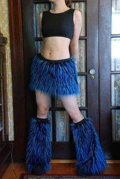 faux fur skirt and leg warmer set - CLOTHING
