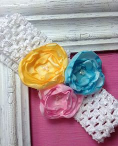 multicolored satin tea rose headband by JennabooBoutique on Etsy, $6.00