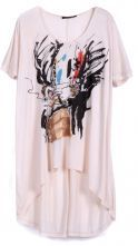 Beige Short Sleeve Ink Painting Dipped Hem T-Shirt