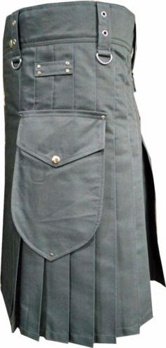 Stylish Scottish For Men Utility Sports Traditional Fashion Gray 100%Cotton kilt