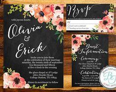 Floral Watercolor & Chalkboard Wedding Invitation Suite (Printable) DIY - Watercolor Wedding Invitation
