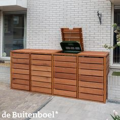 Vierdubbele quatro kliko ombouw van FSC hardhout - All For Garden Garbage Can Shed, Garbage Can Storage, Storage Bins, Bin Shed, Bin Store, Outdoor Projects, Outdoor Decor, Ranch Remodel, Patio Planters