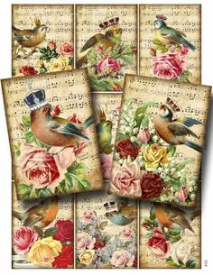 Majestic Songbirds Digital Collage Sheet Download and Print Paper Crafts Card Decoupage Original Whimsical Altered Art by GalleryCat CS52. $3.50, via Etsy.
