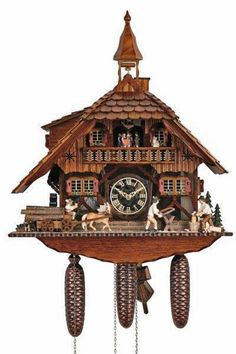 Cuckoo Kingdom - Black Forest House Cuckoo Clock, Logging Scenery, Bell Tower.