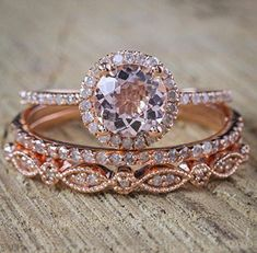Amazon.com: 2 Carat Morganite and Diamond Trio Wedding Ring Set On Rose Gold with Engagement Ring and Two Wedding Bands: Handmade