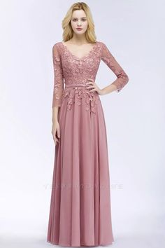 A-line Appliques V-Neck Long-Sleeves Floor-Length Bridesmaid Dresses | Yesbabyonline.com