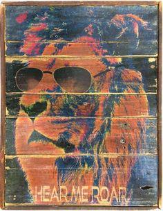 Lion with glasses- Hear me roar! Vintage Style 80's retro art – Echo and Ben Design Shop
