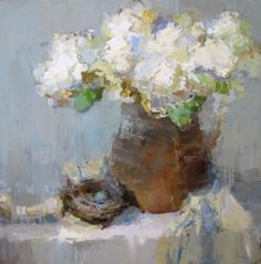"Barbara Flowers, ""Hydrangeas with Nest"", Oil on Canvas, 48x48 - Anne Irwin Fine Art"