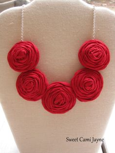 Red Rosette Necklace Fabric Necklace Rosette by SweetCamiJayne, $24.00