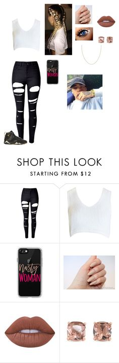 """""""I wanna see my bae😫"""" by we-be-slayin ❤ liked on Polyvore featuring WithChic, Sans Souci, Retrò, Casetify, Lime Crime and Carolee"""