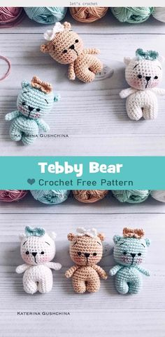 cute crochet This Amigurumi Teddy Bear Crochet Free Pattern is also easily to DIY a Teddy Bear Keychain or baby mobile. Crochet Easter, Cute Crochet, Crochet Hats, Crochet Bear Patterns, Crochet Amigurumi Free Patterns, Crochet Mignon, Knitted Teddy Bear, Diy Teddy Bear, Mini Teddy Bears