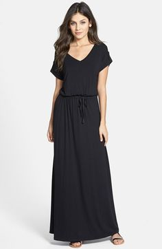 Caslon® Roll Sleeve V-Neck Maxi Dress (Regular & Petite) | Nordstrom
