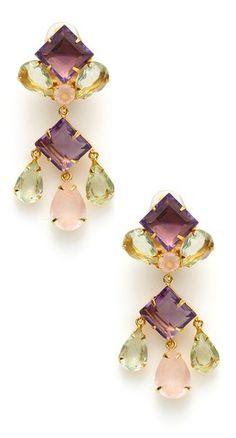 Amethyst, Rose Quartz, & Fluorite Chandelier Earrings by Bounkit