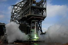01/28/2014 -  NASA Ramps Up Space Launch System Sound Suppression Testing. This is a 5% scale model of the SLS. The real system won't be ready until 2017.  Image Credit:  NASA/MSFC/David Olive