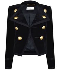 Saint Laurent Velvet Jacket ($2,525) ❤ liked on Polyvore featuring outerwear, jackets, blazer, black, coats & jackets, long sleeve jacket, yves saint laurent jacket, military jacket, yves saint laurent and blazer jacket