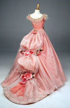 pink poofy princess fairy gown with flower embellished tucked bustles and gold lace collar