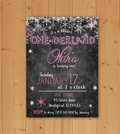 Winter One-derland Birthday, Winter One-derland Birthday Invitation, Winter First Birthday, Onederland Invitation Downloadable File by JMCustomInvites on Etsy