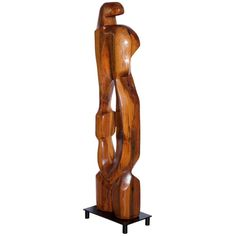 Large Abstract 1960s Pine Floor Sculpture, Signed Vancho For Sale