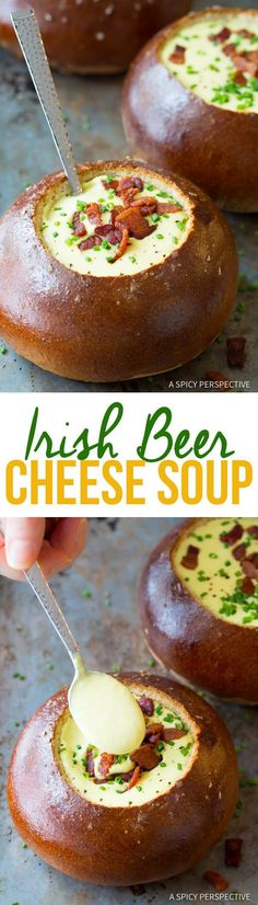 Creamy Irish Beer Cheese Soup for Saint Patrick's Day! This easy beer cheese soup recipe is rich and alluring, with only a handful of necessary ingredients. Irish Recipes, Soup Recipes, Cooking Recipes, Beer Recipes, Irish Meals, Dinner Recipes, I Love Food, Good Food, Yummy Food