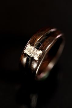 Diamond Engagement Wooden Ring made of Ebony by chasingvictory