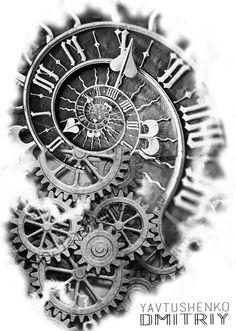 Tattoo artist Yavtushenko tattoo studio in Ukraine . - Tattoo artist Yavtushenko tattoo studio in Ukraine … - Time Piece Tattoo, Pieces Tattoo, Time Tattoos, Body Art Tattoos, New Tattoos, Tattoos For Guys, Maori Tattoos, Samoan Tattoo, Polynesian Tattoos