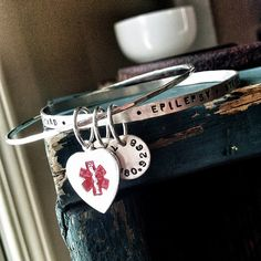 Medical Alert Bracelet - Recycled Sterling SIlver Bangle Set - Custom Hand Stamped and Personalized with Charms