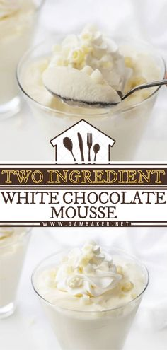 Two-Ingredient White Chocolate Mousse is a rich, decadent and easy chocolate dessert topped with whipped cream and white chocolate curls. This homemade white chocolate dessert is so smooth and creamy with a light, whipped texture. It will take you on a cloud nine! White Chocolate Desserts, White Chocolate Mousse, Chocolate Mousse Recipe, Chocolate Curls, Chocolate Shavings, Easy Cake Recipes, Dessert Recipes, Ooey Gooey Recipe, Baker Cake
