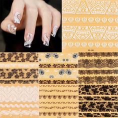 3D Lace Design Nail Art Manicure Tips Sticker Black White Decals DIY Decoration #Unbranded