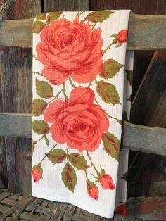 Deep Coral Roses Vintage Tea Towel