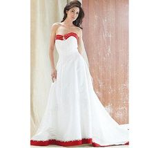 white wedding dress with red trim