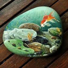 Resultado de imagen para goldfish painted rock