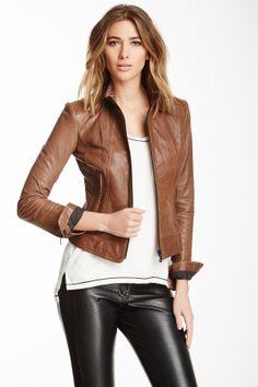 June Leather Cafe Leather Racer Jacket
