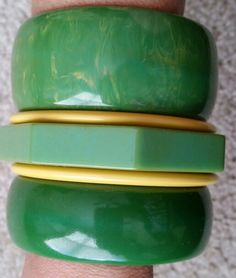 Vintage green bakelite bangles.