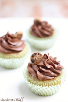 If you can't decide between chocolate chip cookies or cupcakes for your holiday dessert exchange—do both! These Chocolate Chip Cookie Cupcakes are a simple dessert recipe that will be a major crowd-pleaser.
