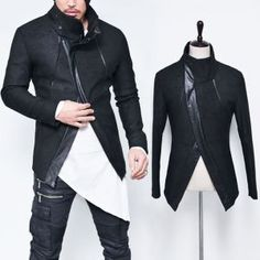 Diagonal Cut Leather Piping High Neck Jacket dedfffb3a5