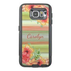 Custom Coral Red Lime Green Watercolor Floral OtterBox Samsung Galaxy S6 Case - red gifts color style cyo diy personalize unique