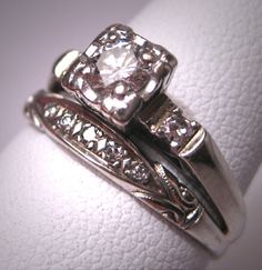 Love vintage wedding rings. This is a beautiful set, perfect.
