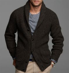 Chunky cardigan sweater - just as comfortable with a dress shirt as when paired with jeans and a tee/men's fashion/ menswear/ Rugged Style, Fashion Night, Look Fashion, Fashion Men, Fashion Ideas, Fashion Rings, Fall Fashion, Older Mens Fashion, Fashion Updates