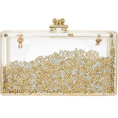 Love Weaves Perspex Gold Tone Beads Clutch Bag ($25) ❤ liked on Polyvore featuring bags, handbags, clutches, beaded handbags, acrylic clutches, white hand bags, weave handbag and lucite handbags