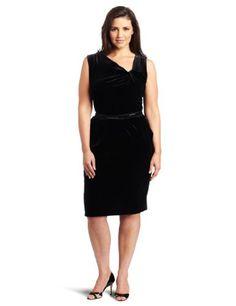 Black Anne Klein Women's Plus Size Velvet Sleeveless Asymmetrical V-Neck Dress