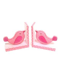 Pink Birds Fabric Bookends.